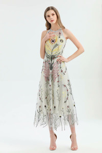 2020 Sale Spring Ins Wholesale Runway New Hot Crew Neck Sleeveless Zipper Embroidery Panelled Floral Mesh Party Dresses