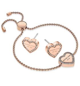 Hotsales Siver / 18 Karat Roségold Diamant Armband Ohrringe Schmuck Set Für Frauen Modeschmuck Schöne Hochzeit / Engagement Geschenk