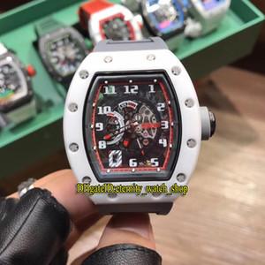 Yüksek sürüm RM 030 Seramik Beyaz Kılıf İskelet Tarihi Japonya Miyota Otomatik RM030 Erkek İzle Kauçuk Kayış Spor Lüks Tasarımcı Saatler Dial