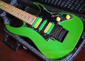 UV777 Universe 7 Dize Vai Yeşil Elektro Gitar HSH Transfer, Floyd Rose Tremolo Kilitleme Nut, Kaybolan Piramit kakma, Siyah Donanım
