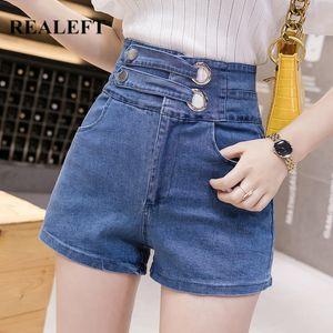 REALEFT 2020 New Spring Summer Sexy Hots Denim Shorts High Waist Double Belt Casual Shorts Female Cowboy Jeans Pocket Blue