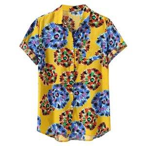 Sind Sie sicher, nicht zu klicken und sehen? Mens Printed Hawaiian lose Bademode kurze Hülsen-beiläufige Buttons Hemd Einkauf