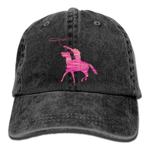 Adults Pink Riding Horse Denim Baseball Caps Golf Bill Caps Mens Cute Washed Twill Denim Hats