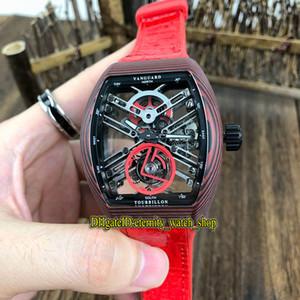 De calidad superior NUEVO SARATOGE VANGUARD ESQUELETO V 45 T SQT NR reloj para hombre real Tourbillon Automático de fibra de carbono Caso Esqueleto Dial relojes deportivos