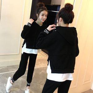 TiLeewon neue Ankunfts-Fälschung zweiteiliges Set schwarze Farbe mit Kapuze-Frühlings-Herbst-Matching-Sets für Frauen Outfits Lässige Zweiteiler
