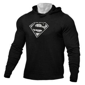 Kapşonlu Erkekler Spor Giyim Uzun Kollu İnce Tee Gömlek Vücut Geliştirme ve Fitness Sportwear tshirt ile Marka Running T Gömlek