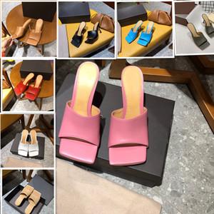 2020 pantoufles femmes Designer mules carrées sandales orteil sandales TENDU peau de chèvre sandales à talons hauts de luxe dame mariage talons hauts multiples