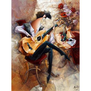 High quality Oil Paintings of Guitar Man canvas art abstract woman Hand painted Personalized Gift