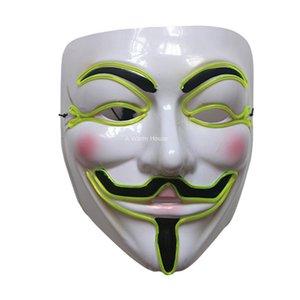 Neon Masque V pour Vendetta Mascara Led Guy Fawkes Masque de mascarade Masques Halloween Party Mascara Glowing Masker lumière Maska Effrayant
