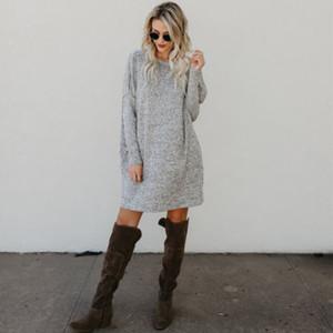 Новая одежда повседневная Свободная с длинным рукавом простой стиль сплошной свитер женская О-образным вырезом трикотаж пуловер короткое мини-платье