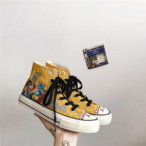 2020 Мода Лето Взрыв Модели Корейский высокого верха обуви холст Мужская обувь Супер Огонь Street