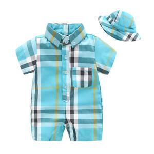 bebé del algodón del mameluco del bebé lactante diseñador de la ropa del muchacho del verano del bebé recién nacido ropa de niño recién nacido 2pcs rompers + hat / set Mono A6141 recién nacido