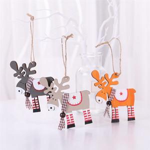 Рождественская елка украшение Олень висит кулон Вуд Окрашенного Elk Подвеска Xmas Party Decor Deer Подвеска рождественские украшения JK1910