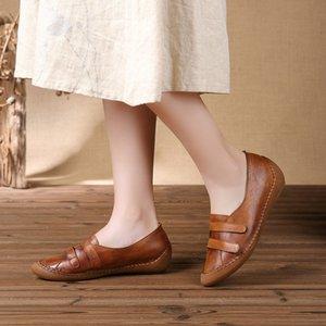 GYKZ 2018 Nova Primavera 100% couro de grão completo Handmade sapatos dentro Altura único sapatos Estilo Nacional da Mulher