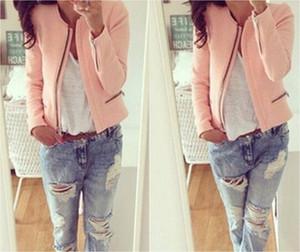Escudo señoras del algodón de la cremallera de manga larga de la vendimia del motorista de la motocicleta capas de las chaquetas de las mujeres delgado rosa Tops Outwear