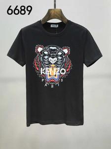 2019 de luxo europeu Paris cabeça do tigre Forma do bordado de impressão T-shirt homens e mulheres da moda hip-hop curto algodão do T-Shir dos homens casuais
