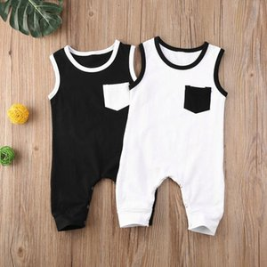 2020 Summer 0-18M Newborn Infant Baby Girls Boys Rompers Black White Pocket Solid Sleeveless Cotton Jumpsuits Clothes 2 Colors