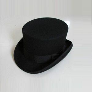 British Style Men Women Wool Fedora Steampunk Top Hat Cylinder Magician Magic Cap Good Package Wool Fedoras Cap 12cm High B-8114 Y19070503