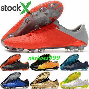 eur 46 Ayakkabı futbol krampon Hypervenom III boyutu, 12 krampon Erkekler Phantom 3 FG AG Erkek düşük üst turuncu kutu Scarpe Chaussures de