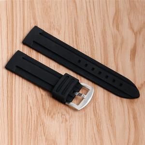 Correa de silicona reloj de reemplazo de accesorios Negro 20mm / 22mm / 24mm / 26mm / 28mm Relojes Pulsera la goma impermeable Diver Correa