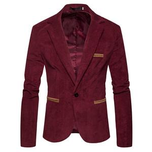 V Neck Suits Jacket Mens Corduroy Blazer Fashion Single Button Solid Color Mens Long Sleeve Spring Male Apparel