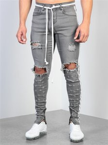 Erkek Gri Yıkama Kalem Kot Moda Ripped Dietrressed Pantolon Erkek Tasarımcı Skinny Jeans Fermuar Ile Erkekler Panelli Pantolon