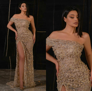 Champagne Evening Dresses One Shoulder High Side Split Mermaid Prom Dress Sweep Train Custom Made Lace Floral Appliqued Long Formal Gowns