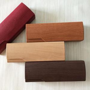 Творческий деревянные зерна PU солнцезащитные очки дело близорукость очки для чтения защита коробка ручной работы деревянные очки коробка очки аксессуары логотип