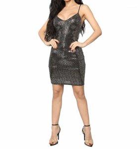 Robes manches spaghetti sangle Laides robes sexy du Club Vêtements pour femmes Nouveau Slim Noir Paillettes Femmes Designer