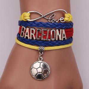 2020 new infinity love pendant leather bracelet string rope handmade football charm bracelet jewelry bangles for men and women