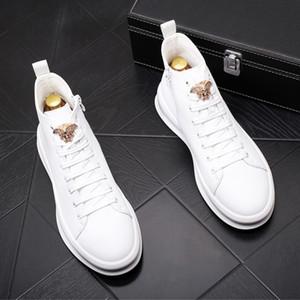 Новый топ стиль толстой подошве высокие верхние настольные обувь, корейский издание прилив Мартин случайные короткие загрузки белые ковбойские сапоги в57