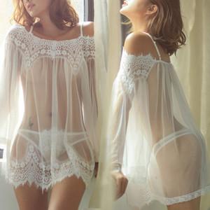 Ver Sexy-a través pijamas fija el juego de la ropa de noche de las mujeres del acoplamiento del cordón Mujer Inicio desgaste de la noche Femme atractivo pijama S-XXL 07