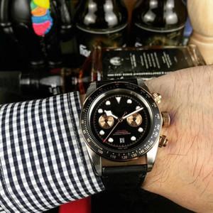 Reloj de cuero negro de lujo nueva línea movimiento automático Aceros Inoxidables Correa 81933 del reloj para hombre mira el envío libre