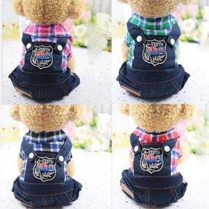 La nueva ropa para perros Pet Products trajes de gato cachorro enrejado de cuatro patas con Jeans Bodies chaqueta del desgaste del resorte del otoño del verano