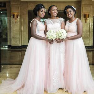 Vestido de dama de honor para bebés africanos rosados 2019 Jewel Sweep Train Appliques Beads Garden Country Beach Vestido de dama de honor para bodas Fiesta de graduación