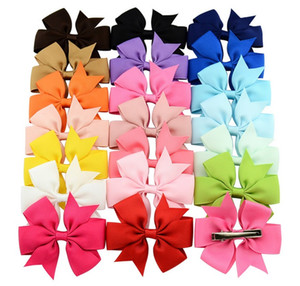 3 Inch Mix colors Popular Baby Ribbon Bow Clips Girl Hairpins Boutique Hair Bows Fishtail Clip Headwear Kids Hair Accessories 564