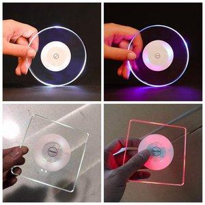 LED-Coaster Light Up-Auflage-Matten-Untersetzer Cup Acryl Für Getränke Bar Bier-Getränkefest-Hochzeit Bar Dekoration ZZA1932 200pcs