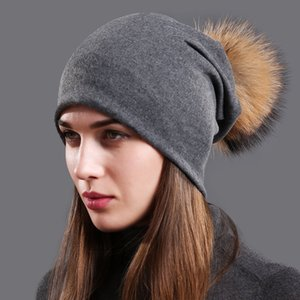 Women's Cotton Beanie Hat Autumn Raccoon Fur Pompom Slouchy Beanies for Femme Winter Skullies&Beanies with Real Pompom Balls Y191112