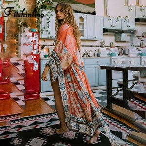 Fitshinling Oversize Beach Cobrir Kimono Vintage Print Floral Holiday Bikini Outing Boho Loose Long Cardigan 2020 Orange Coat T200417