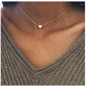 2020 Neues Gold Silber Überzogene Kleine Herz Halsketten Bijoux Für Frauen Halsbänder Modeschmuck Halsband Collarbone Anhänger Halskette NA2191