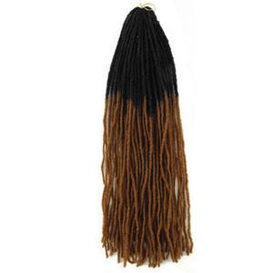 extensions de cheveux soeur Locks douce soeur interblocages Locks Afro Crochet Tresses 18 pouces couleur Ombre Brown Bug cheveux synthétiques pour les femmes