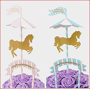 1pcs Carousel Cupcake Cake Topper Cute Horse Cake Flag Baby Shower Kids Children Happy Birthday Party Baking Decoration Supplies