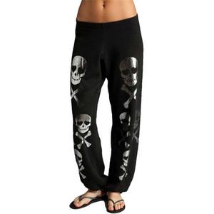 FancyQube Yeni 2020 Yaz Casual Artı boyutu Kafatası Pantolon Kadınlar Gevşek Harem Pantolon Midwaist İpli Pantalon Femme