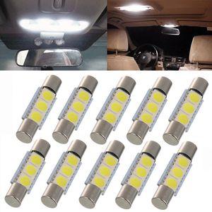 10X السيارات LED T6.3 28 / 31MM 5050 3 SMD الأبيض 12V السيارات الداخلية سيارة الشمس قناع الغرور أضواء مرآة ماكياج مصباح الأنوار.