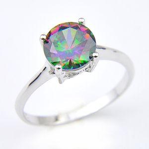 Luckyshine monili della donna arcobaleno che Mystic Topaz Gemstone Rings 925 d'argento arcobaleno zircone Anelli di fidanzamento # 7 # 8 # 9