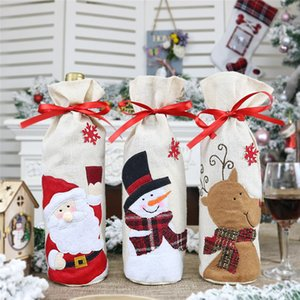 2019 New Christmas Wine Bottle Cover 1PC Red Wine Bottle Bag Cartoon Christmas Decoration Gift Bag Xmas Decors @A
