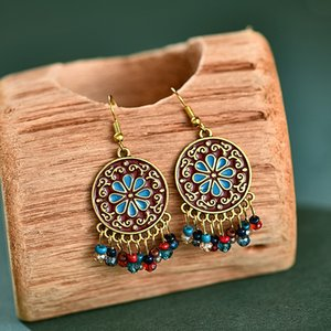 New best selling round engraved millet beads patina earrings female European and American palace style retro earrings
