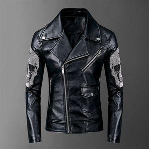 Kış ceket yeni erkek motosiklet deri ceket, boomer erkekler ince klapa deri ceket kafatası punk tarzı yüksek kaliteli
