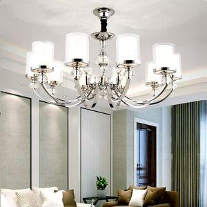 LED الإضاءة ثريات كريستال معدن الكروم الحديثة أضواء غرفة المعيشة أدى قلادة الثريات أضواء غرفة نوم بقيادة الضوء الشنق