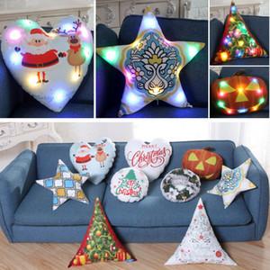 크리스마스 LED 발광 베개를 던져 쿠션 커버 XMAS 산타 클로스 순록 호박 베개 케이스 소파 자동차 장식 XD21619 커버